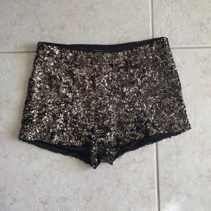 Forever 21 Shorts - Black & Gold Sequined Shorts